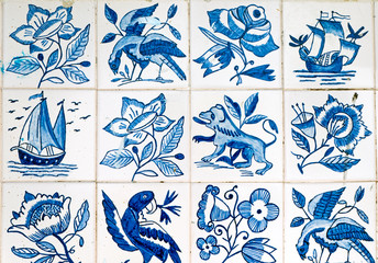 Beautiful portuguese tiles with paintings seen in Lisbon