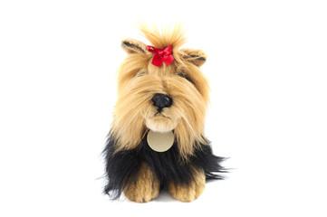 stuffed shaggy toy dog isolated over white