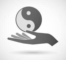 Hand giving a ying yang