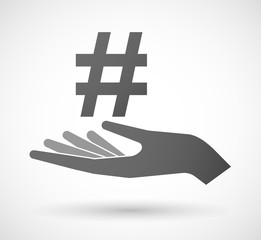 Hand giving a hash tag