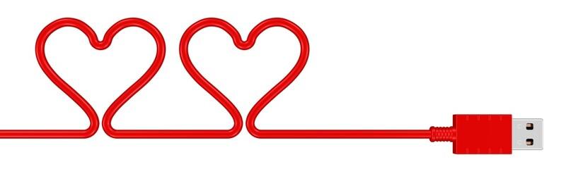 USB-Kabel mit Herzen