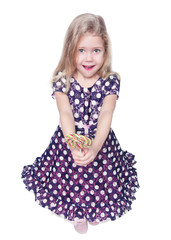 Beautiful little girl with lollipop isolated. Top view