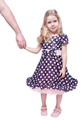 Beautiful little girl holding hand of her father isolated