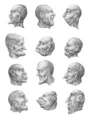 Creepy heads collection (profile). Pencil hand drawings
