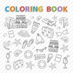 Vector coloring book.Summer set.