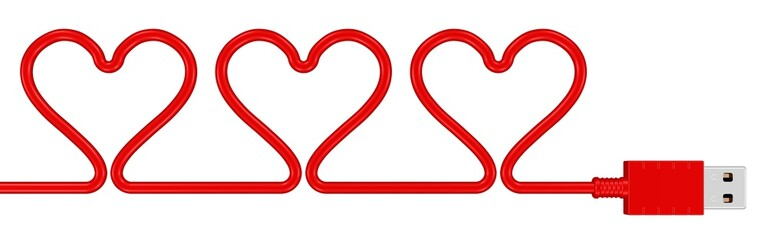 Herzen im USB-Kabel
