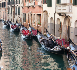 Row of empty gondolas.