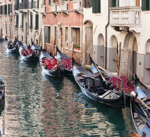 Row of empty gondolas.