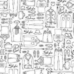 Vector pattern with hand drawn men's wear on white color