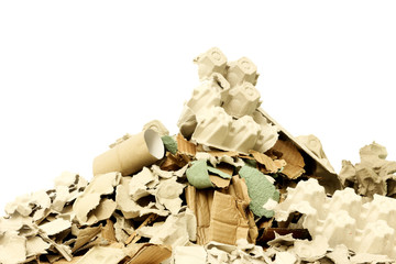Waste cardboard for recycling on white background