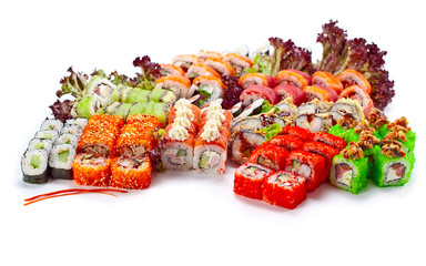 Japanese sushi on white background