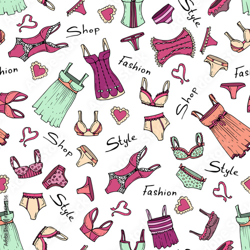 Vector pattern with hand drawn and fashionable lingerie - 77636436