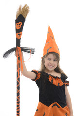 Beautiful Happy Witch Girl With Broom