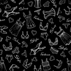 Vector pattern with hand drawn lingerie on black color