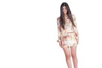 Brunette good looking fashion Greek model over white background