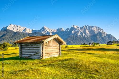 Staande foto Scandinavië Almwiese mit Hütte und Gebirge im Hintergrund