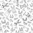 Vector pattern with hand drawn lingerie on white color - 77637625