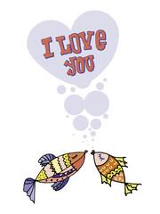 Valentine,  I love you, postcard for 14 February