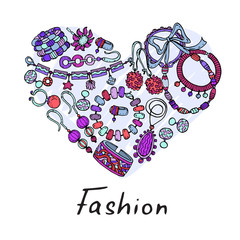 Vector stylized heart with hand drawn and fashionable jewelry