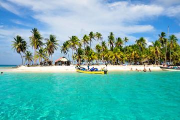 Caribbean tropical Island, San Blas, Panama. Traveling America.