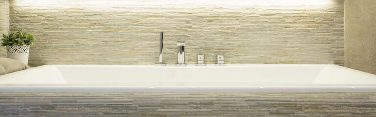 Porcelain bathtub in luxury bathroom