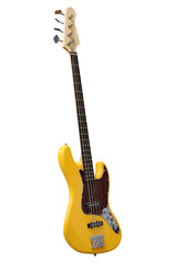 The image of yellow electric guitar under the white background