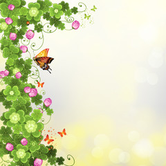 Abstract background with clover and butterflies