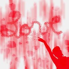 amor escrito con corazones