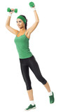 Cheerful woman exercising with dumbbells, isolated