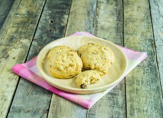 Cookies in wooden plate