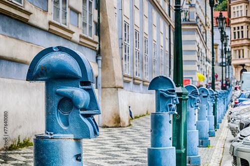 Fototapeta Bollards in Malostranske namesti in Prague