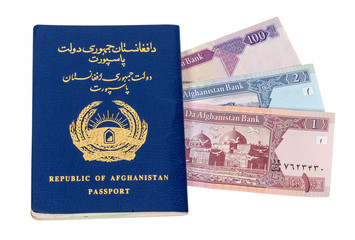 Afghanistan passport and money isolated on white background