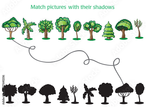Trees and Silhoutte of trees - game for children - 77640206
