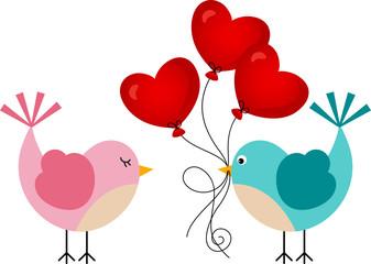 Love bird with heart balloons