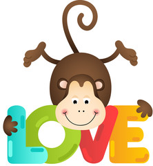 Cute monkey with love text