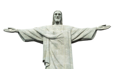 Christ statue isolated on white background