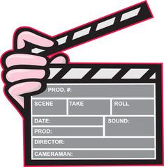 Movie Clapboard Hand Cartoon