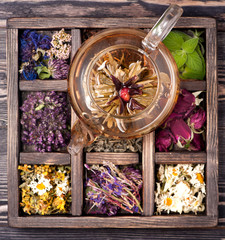 Herbal and flowers tea and dried herbs and flowers
