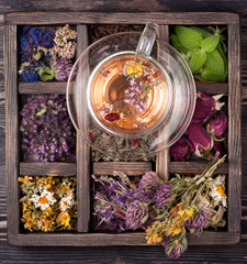 Tea with herbs, flowers and berries and dried herbs