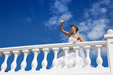 Happy Bride at the Blue Sky