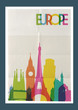 Travel Europe landmarks skyline vintage poster - 77642428