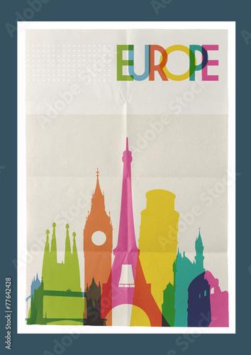 Travel Europe landmarks skyline vintage poster - 77642428