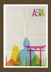 Travel Asia landmarks skyline vintage background