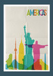Travel Americas landmarks skyline vintage poster - 77643042