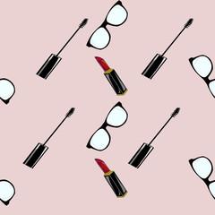 seamless pattern make up e occhiale su sfondo rosa