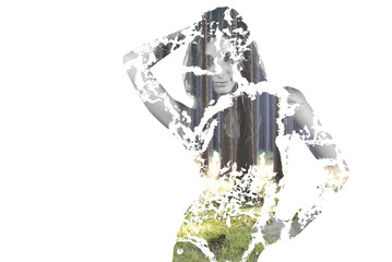 Posing girl, double exposure with forrest
