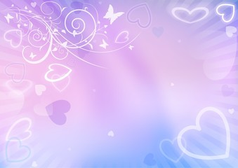 Valentines Background With Hearts And Floral