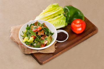 Plate of traditional Arabic salad fattouch