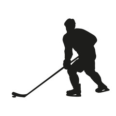 Hockey player. Vector silhouette