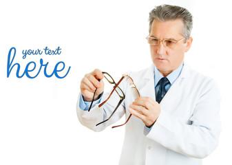 Optician doctor man with prescription glasses